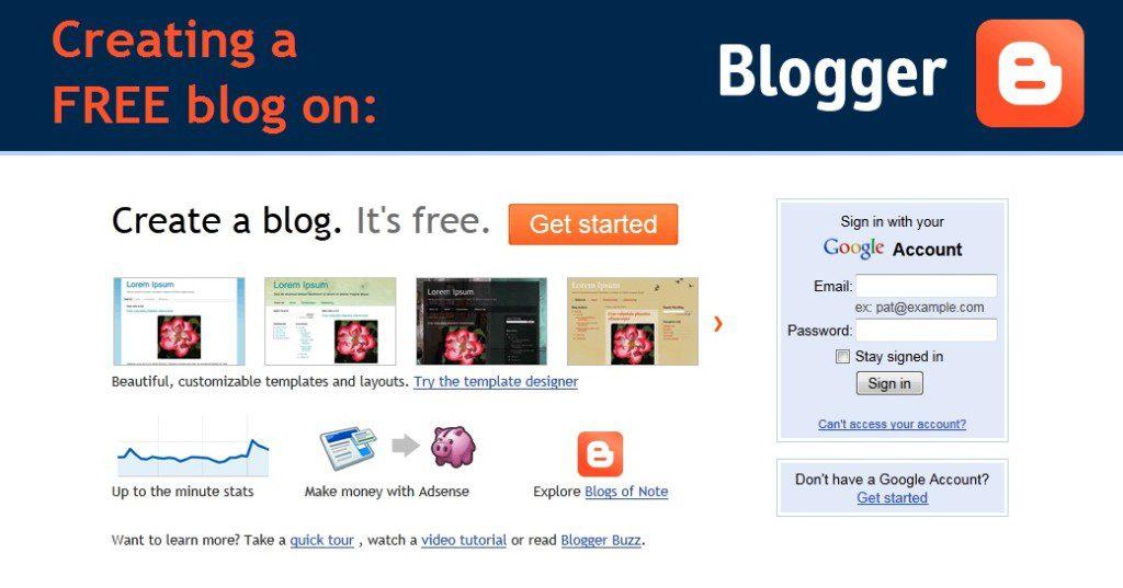 creating a free blog on the blogger platform